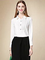 DOF Women's Casual/Daily Simple Fall ShirtSolid Shirt Collar Long Sleeve White Cotton Medium