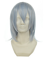 Gintama Sakata Gintoki Mixed Silver Light Blue Versatile Cocked Short Halloween Wigs Synthetic Wigs Costume Wigs