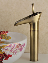 Antique Centerset Waterfall with Ceramic Valve Single Handle One Hole for  , Bathroom Sink Faucet