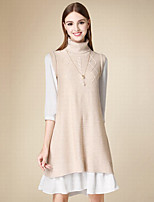 Normal Pullover Femme Décontracté / Quotidien simple,Couleur Pleine Rose Col Roulé Sans Manches Polyester Hiver Moyen Micro-élastique