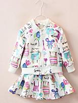 Mädchen Kleid / Anzug & Blazer / Kleidungs Set-Lässig/Alltäglich Druck Baumwolle Herbst Weiß