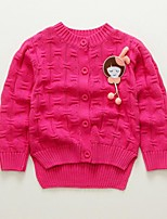 Girl's Casual/Daily Solid Sweater & Cardigan,Cotton Spring / Fall Pink / Red