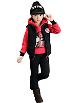 Girl's Casual/Daily Sports Cotton Padded Three Pieces Clothing Sets(Thickness HoodieSolid VestPants)