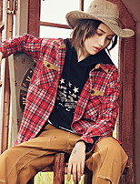 Aporia.As Women's Casual/Daily Street chic Fall ShirtPlaid Shirt Collar Long Sleeve Red Fox Fur-MZ08053
