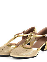 Latin Women's Dance Shoes Sandals Leather Chunky Heel Gold