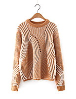 Women's Casual/Daily Simple Regular Pullover,Patchwork Blue / Black / Brown / Green Round Neck Long Sleeve Cashmere / Polyester Fall