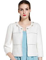 Damen Solide Einfach Lässig/Alltäglich Jacke,Herbst Rundhalsausschnitt ¾-Arm Weiß Mittel Baumwolle / Nylon / Andere
