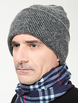 Men England Vintage Casual Tweed Wool Cotton Warm Pure Color Knit Caps