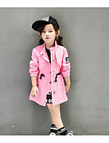 Girl's Casual/Daily Solid Blouse / Trench CoatCotton Winter / Fall Green / Pink