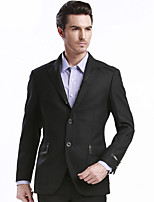 SEVEN  Men's Casual/Daily / Work / Party/Cocktail Simple Winter BlazerSolid Deep V Long Sleeve Black Polyester Medium