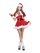 Christmas Costume /Holiday Halloween Costumes Red Solid Skirt / Belt / Garter / Hats Christmas Female