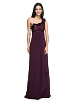 2017 לנטינג שיפון באורך הרצפה bride® / מתיחה שמלת השושבינה סאטן אלגנטית - כתף אחת עם קפלים