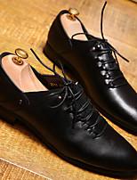 Черный-Мужской-Свадьба / Для офиса-КожаУдобная обувь-Туфли на шнуровке