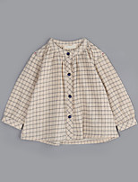 Girl Casual/Daily Houndstooth Blouse,Cotton Fall Long Sleeve Regular