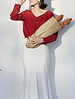 Chemise Femme,Couleur Pleine Décontracté / Quotidien Vintage Automne Manches Longues Col en V Rouge Autres Moyen