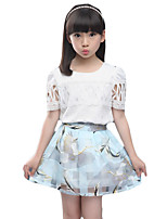 Girl's Casual/Daily Print Dress / Clothing SetCotton Spring / Fall Blue / Pink