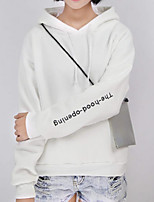 Women's Casual/Daily Simple / Active Regular Hoodies,Embroidered White / Black Hooded Long Sleeve Cotton Fall / Winter Medium Stretchy