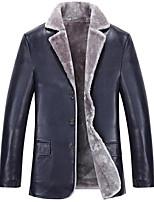 Мужчины На каждый день / Большие размеры Однотонный Кожаные курткиПростое Синий / Черный / Коричневый Длинный рукав,Овчина