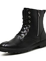 Men's Fashion Boots PU Leather Shoes Flat Heel Zipper / Lace-up Black / Brown Walking EU39-43