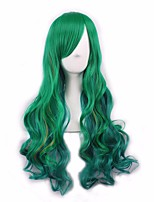 Green Color Long Wave Hair Heat Resistant Hair Cheap Synthetic Wigs for Black Women