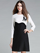 YICHAOFUSHI Women's Going out Street chic Sheath DressStriped Round Neck Above Knee Long Sleeve White Polyester Fall - OMQ-Y1351-190