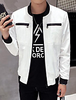 Men's Casual/Daily Simple Jackets,Solid Stand Long Sleeve Fall White Polyester Thin