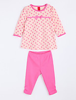 Girl's Casual/Daily Floral Clothing SetCotton Fall Red