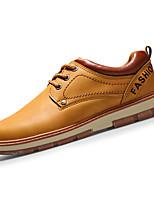 Men's Sneakers Spring / Fall Comfort PU Casual Flat Heel Lace-up Black / Brown / Yellow Sneaker