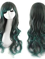 la mode harajuku résistant à la chaleur verte deux tons ombre cosplay lolita casquette noire wigfree perruque