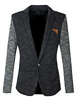 Men's Wedding / Going out / Work Vintage / Simple / Street chic Fall / Winter Blazer,Striped / Patchwork Notch Lapel Long SleeveBlack /