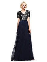 Lanting Bride®Floor-length Tulle / Sequined Bridesmaid Dress - Sparkle & Shine A-line V-neck with Pleat