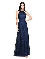 2017 Lanting andar de comprimento bride® laço elegante vestido de dama de honra - uma linha de halter com pregas