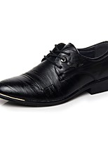 Черный / Коричневый-Мужской-Для офиса / На каждый день-Кожа-На низком каблуке-Удобная обувь-Туфли на шнуровке