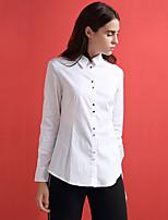 Chemise Femme,Couleur Pleine Habillées simple Toutes les Saisons Manches Longues Col de Chemise Blanc Coton / Nylon Moyen