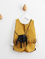 Girl's Casual/Daily Solid Tee / Vest / Clothing SetCotton Spring / Fall Yellow