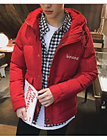 Men's Regular Padded Coat,Simple Casual/Daily Solid-Polyester Cotton Long Sleeve Red