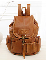 Casual Backpack Women PU Gold Brown Black
