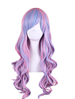 New Lolita Fashion Pink Blue Mixed Color Body Wave Cosplay Synthetic Wigs Gradient Lvender Color Anime Cosplay Wig
