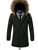 Men's Regular Padded Coat,Simple Going out / Casual/Daily Solid-Cotton Cotton Long Sleeve Hooded Blue / Black / Green