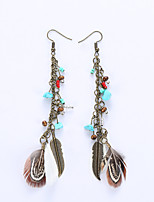 Drop Earrings Earrings Jewelry Feather Alloy Fashion Rainbow Jewelry Wedding Party Halloween Daily 1 pair