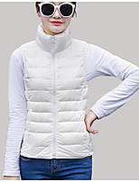 Women's Down Coat,Simple Casual/Daily Solid-Polyester White Duck Down Sleeveless Blue / Red / White / Black