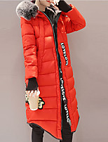 Women's Long Padded CoatStreet chic Going out Solid-Cotton / Polyester PolyLong Sleeve Hooded Red / Black / Green