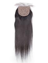 4x4 Silk Base Closure Straight Human Hair Closure Medium Brown Swiss Lace about 30g gram Average Cap Size