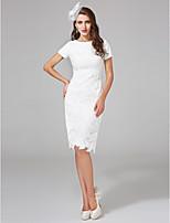 Lanting Bride® Sheath / Column Wedding Dress Knee-length Bateau Lace with Sash / Ribbon / Sequin