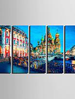 Холст Set Пейзаж Европейский стиль,5 панелей Холст Вертикальная Печать Искусство Декор стены For Украшение дома