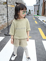Girl's Casual/Daily Solid Clothing SetCotton Spring / Fall Green / Pink