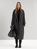 DL.FANG Women's Going out / Casual/Daily Simple Trench CoatSolid Notch Lapel Long Sleeve Winter Black Cotton / Rayon Medium
