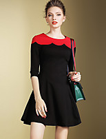 Women's Plus Size / Going out Vintage / Simple Sheath DressColor Block Round Neck Above Knee  Sleeve Black