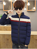Men's Regular Padded Coat,Simple Casual/Daily Solid-Polyester Cotton Long Sleeve Blue