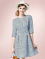 Women's Casual/Daily Simple Sheath Dress,Print Round Neck Above Knee ½ Length Sleeve Blue Cotton Fall High Rise Inelastic Thin